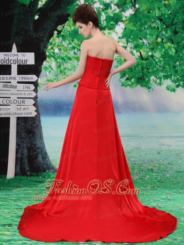 Beading Chiffon A-Line Red Court Train Strapless Prom Dress