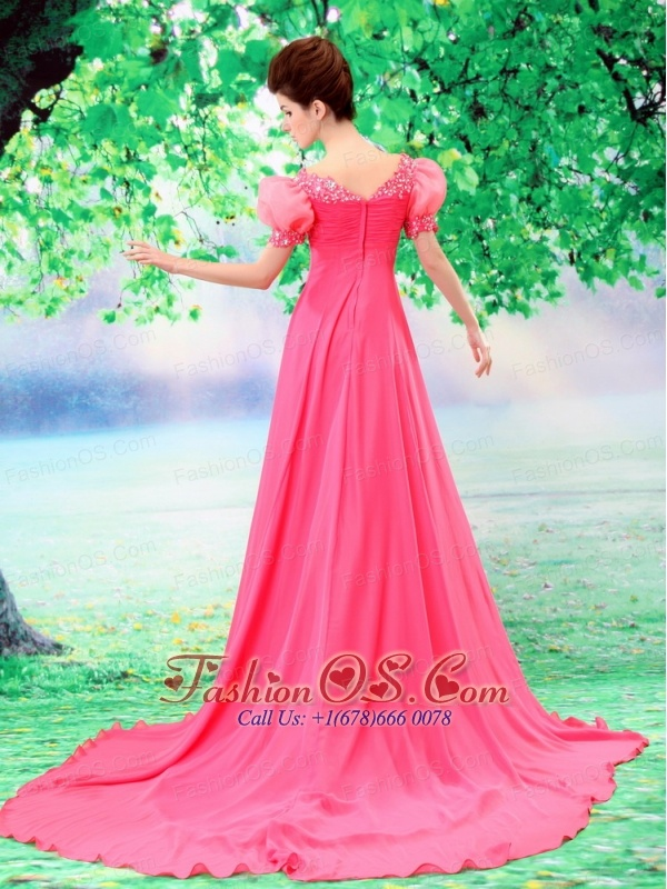 Bubble Sleeve Coral Red Beaded V-neck Chiffon Stylish Custom Made Prom Gowns