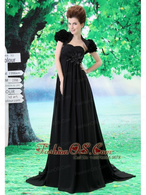 Custom Made Black 2013 Prom Dress Hand Made Flower and Ruch In Graduation