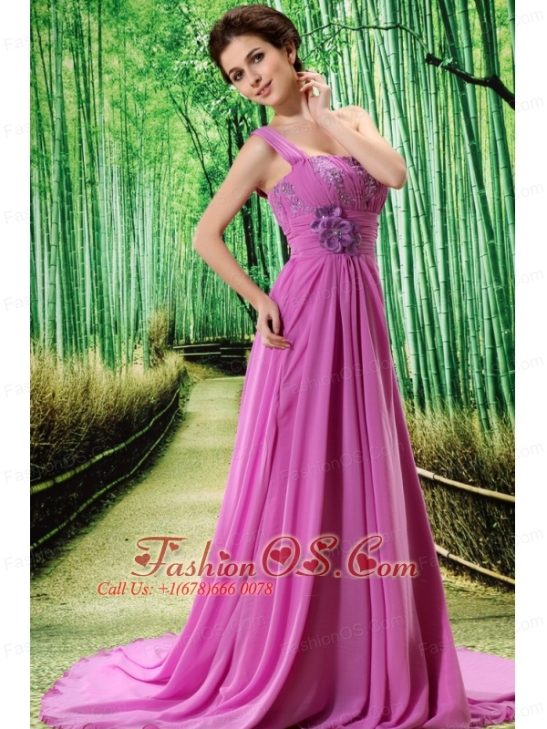Custom Made Lavender One Shoulder Appliques Clarines Prom Dress Beaded Decorate Bust