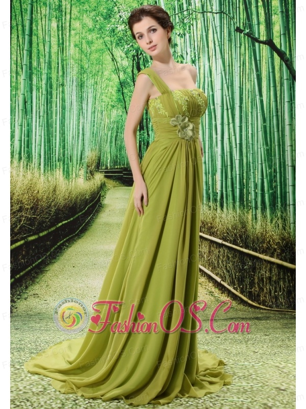 Custom Made Olive Green One Shoulder Appliques Clarines Prom Dress Beaded Decorate Bust