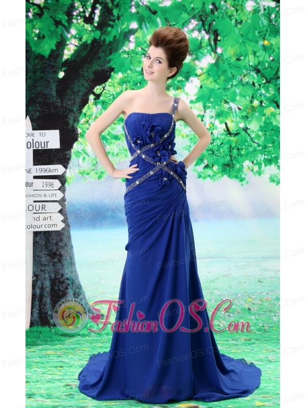 Custom Made One Shoulder Prom Dress Peacock Blue Beading and Ruch In Celebrity