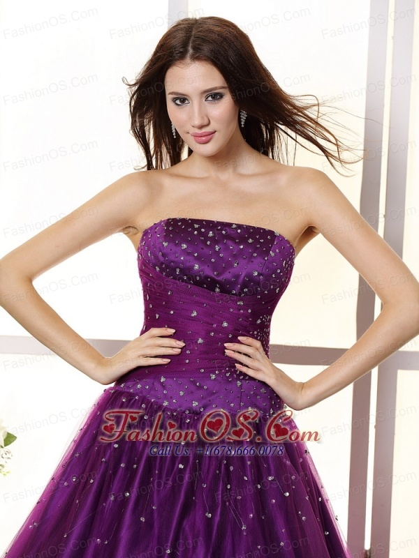 Eggplant Purple and Beaded Bodice For Prom / Evening Dress