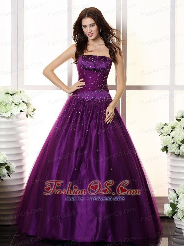 Purple and Beaded Bodice For Prom / Evening Dress
