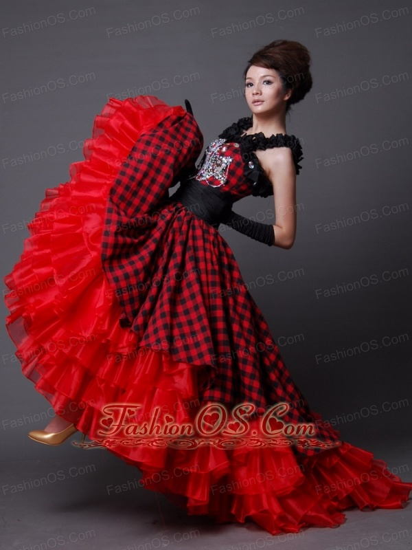 Elegant Prom Dress Off the Shoulder A-Line / Princess Organza Beading