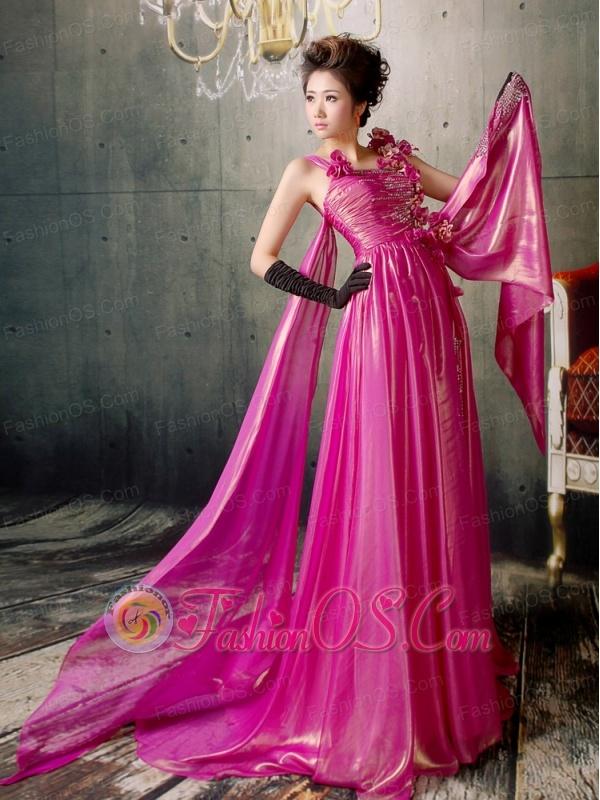 Fuchsia Hand Made Flowers Watteau Train Prom / Evening Dress Silk Like Satin