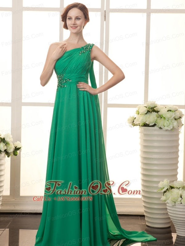 Green Watteau One Shoulder Chiffon Beaded Decorate Shoulder Formal Evening Prom Gowns