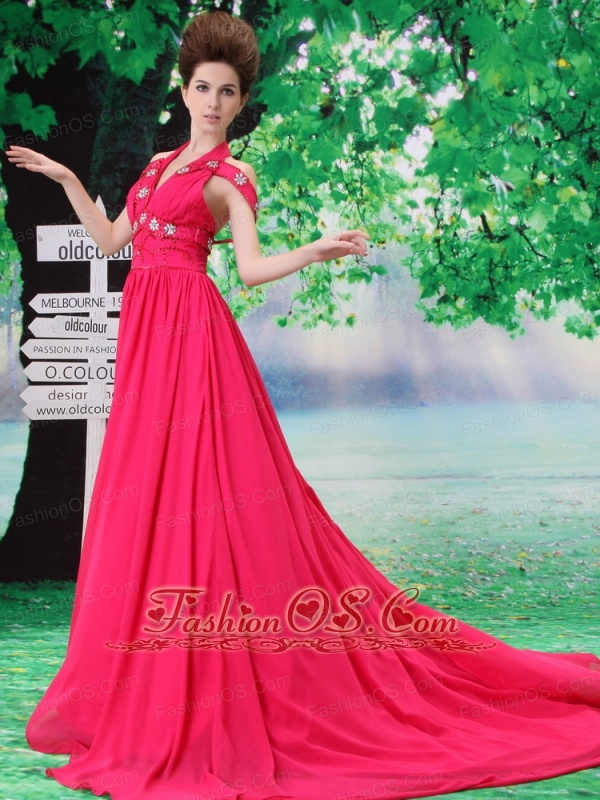 Halter and Off the Shoulder Beading Empire Chiffon Hot Pink Court Train Prom Dress