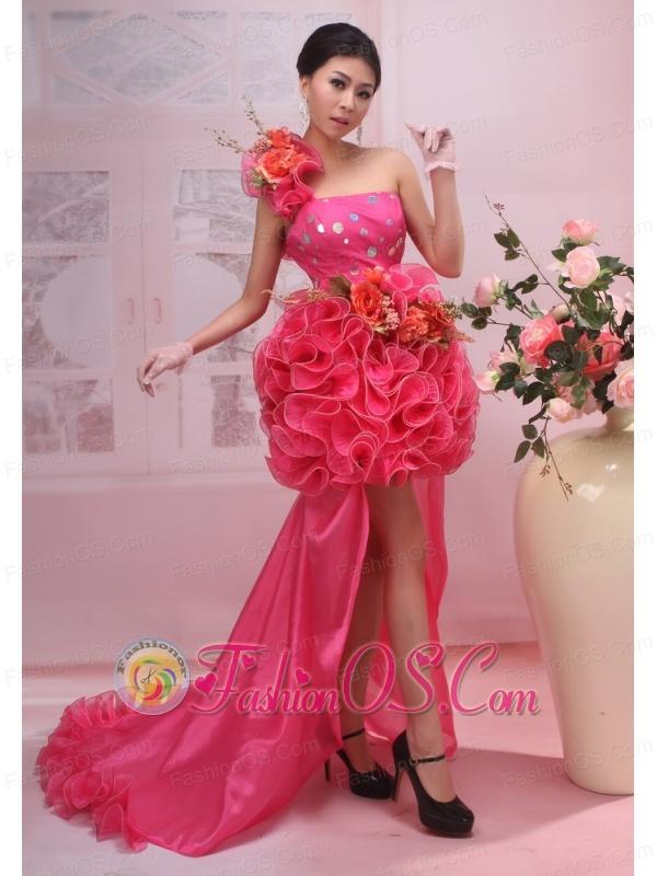 Hand Made Flower One Shoulder High Slit High-low Red Organza 2013 Prom / Evening Dress