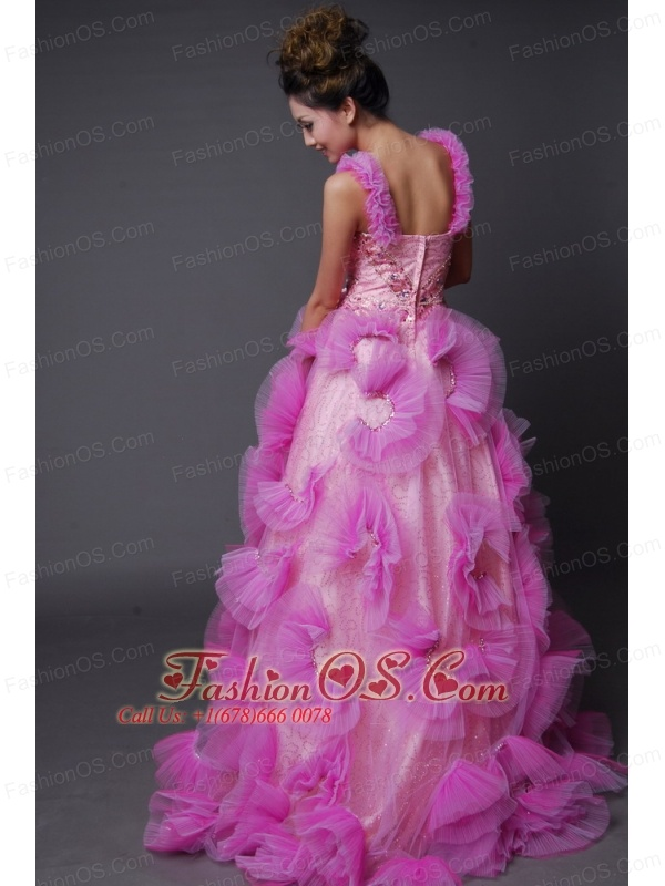 Hand Made Flowers Decorate Bodice Beaded Decorate Up Bodice Straps Pink Brush Train Prom / Evening Dress For 2013