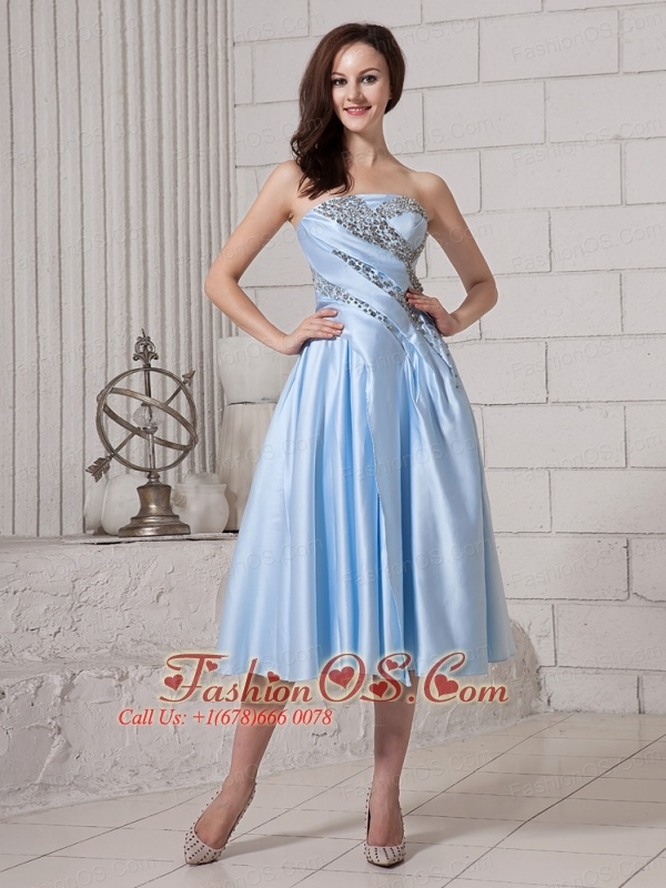 Light Blue Taffeta Strapless Tea-length Custom Made Prom Gowns