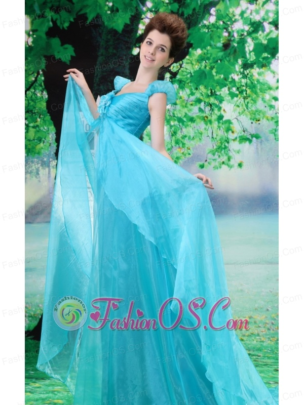 Off Shoulder Neckline Aqua Blue A-line Organza Custom Made 2013 Prom Gowns With Court Train