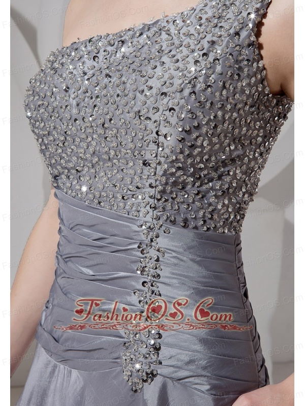 One Shoulder Grey A-line Floor-length Beaded Modern New Styles Custom Made Prom Gowns