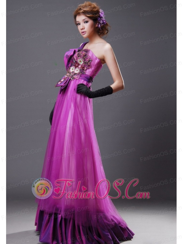 One Shoulder Tulle Fuchsia Empire Sweet Party Prom Dress