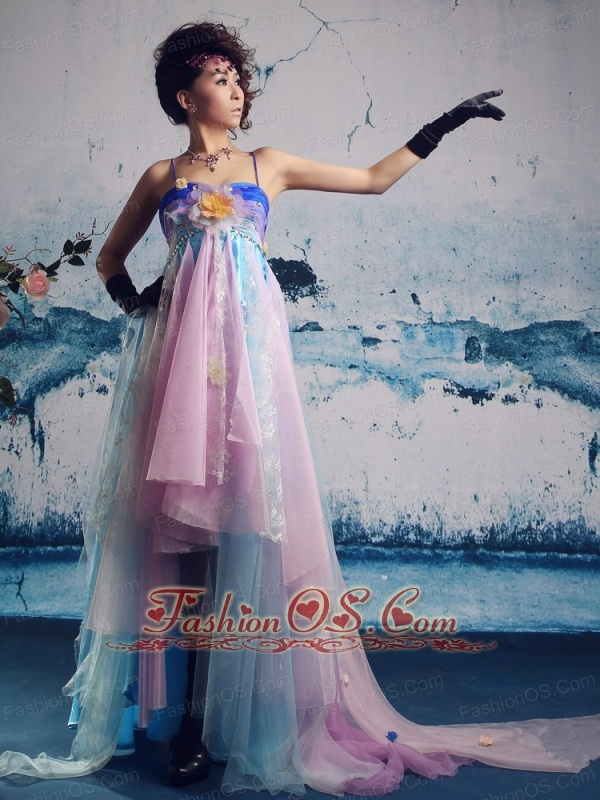Organza Multi-color Spaghetti Straps Prom Gowns With Hand Made Flowers Custom Made