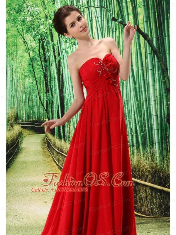 Red Stylish Elegant Prom Dress Hand Made Flower and Ruch