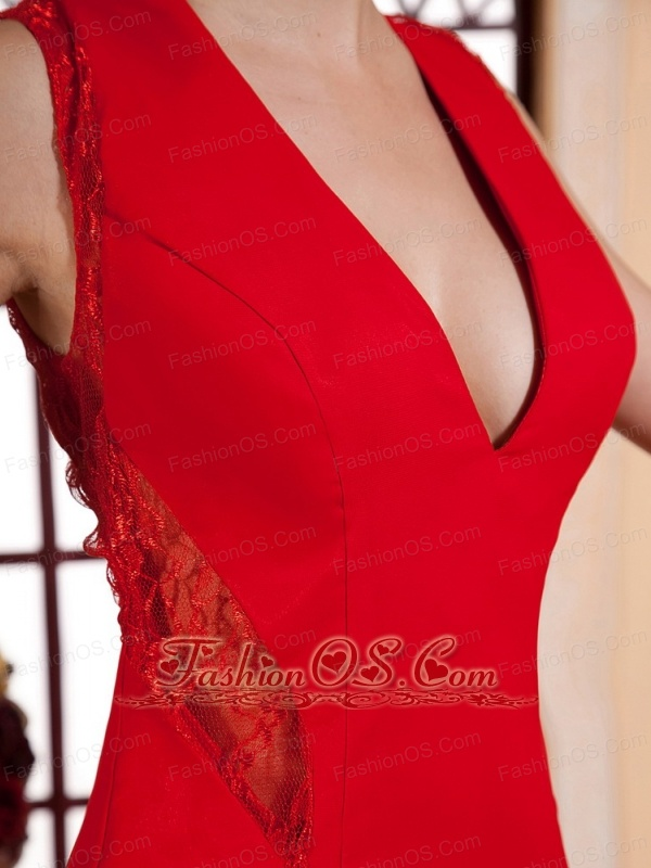 Red V-neck For Prom Dress With Lace and Chiffon