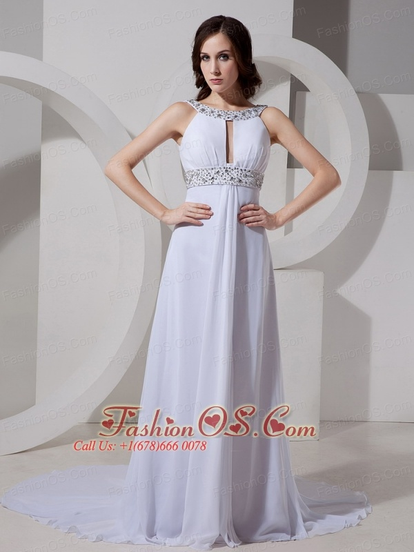 Scoop Neckline Beaded Decorate Waist Chiffon Court Train New Style 2013 Prom Gowns Custom Made