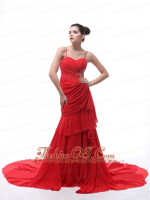 Spaghetti Straps Red Beaded Decorate and Ruch 2013 Prom Dress With Court Train