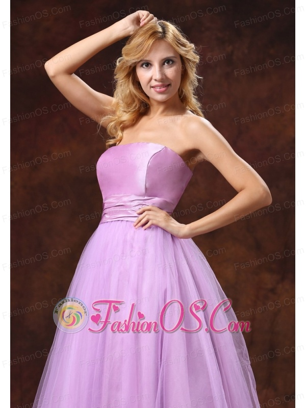 Strapless Neckline Tulle Lavender Princess Prom Dress For Prom Party