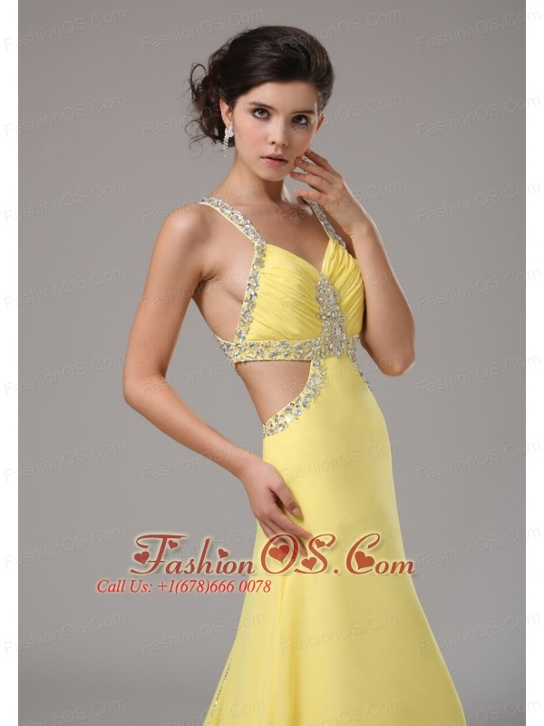 Straps Chiffon Yellow Evening Dress With Brush Train Beaded Decorate