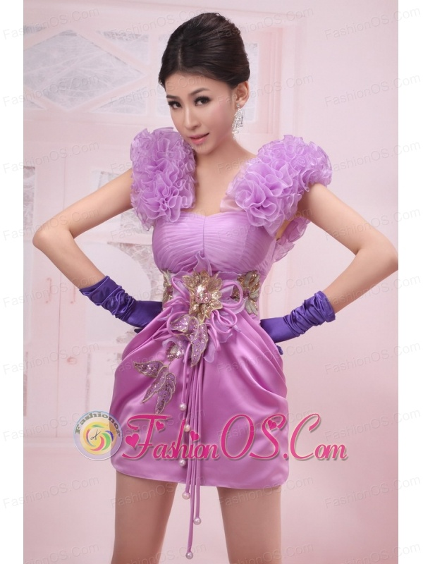 Straps Lavender Mini-length Handle-Made Flowers Taffeta Prom Dress A-Line / Princes