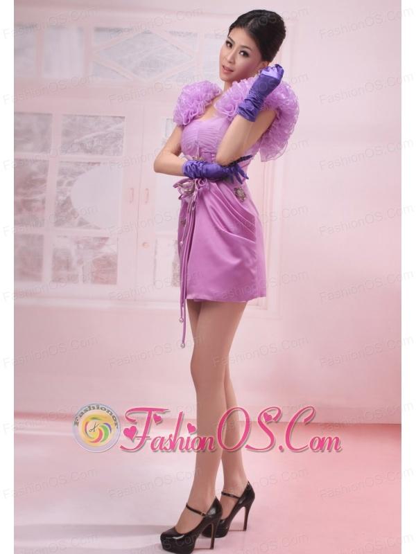 Straps Lavender Mini-length Handle-Made Flowers Taffeta Prom Dress A-Line / Princes