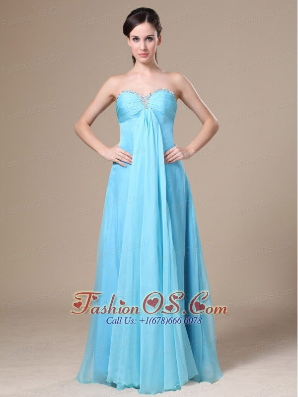Stylish Chiffon Beading Empire Sweetheart Aqua Blue Prom Dress