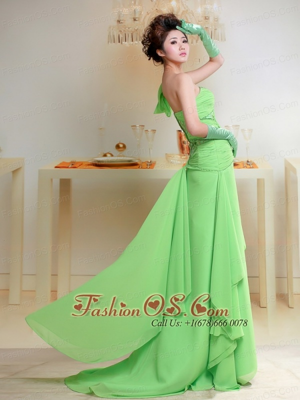 Sweet Spring Green One Shoulder Ruched Bodice Prom Dress With Chiffon For Party