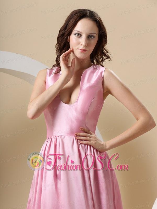 Taffeta Rose Pink and Floor-length For Prom Dress