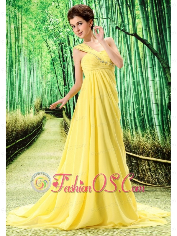 Yellow One Shoulder Prom Dress Appliques and Ruch