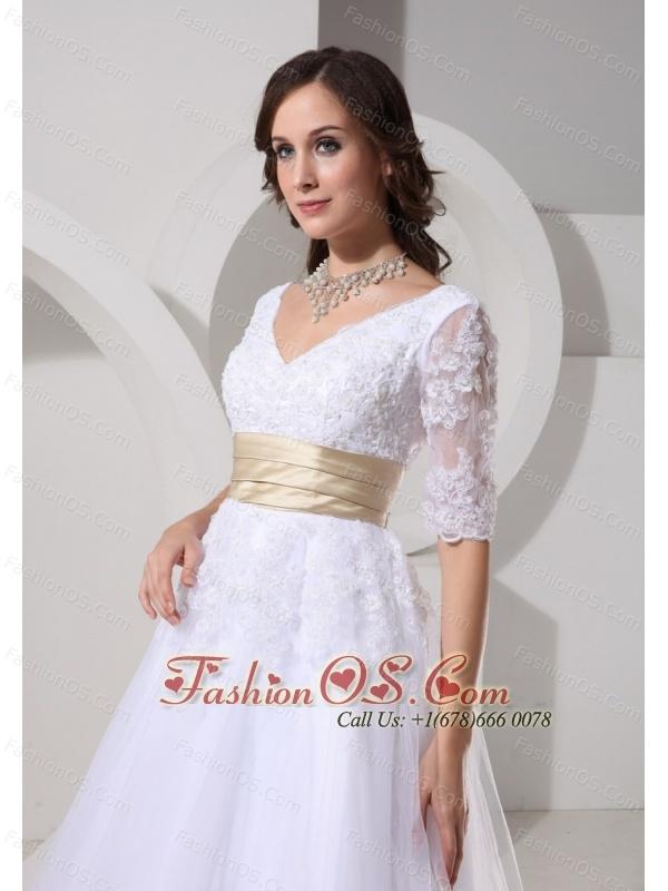 1/2 Sleeves and Sash For Short V-neck Wedding Dress