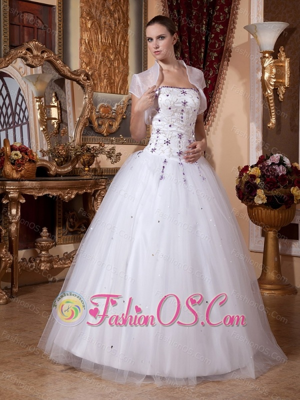 2013 A-line Embroidery Beading Wedding Gowns With Tulle
