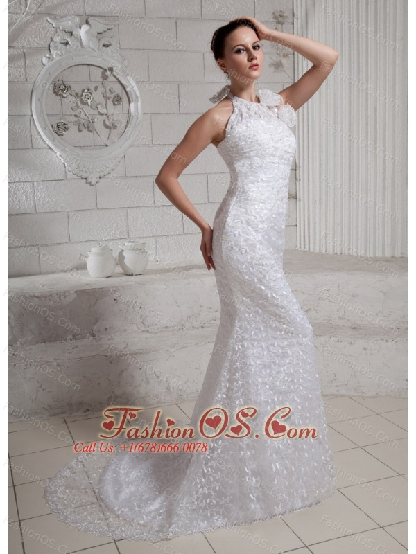 2013 Halter Hand Made Flowers Mermaid Wedding Dress With Brush Train For Custom Made