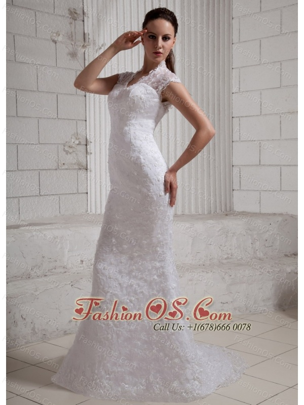 2013 Sweetheart Column Lace Wedding Dress With Lace Brush Train