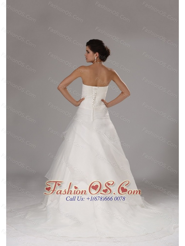 Appliques Custom Made Ruched Bodice Wedding Dress With Organza A-line