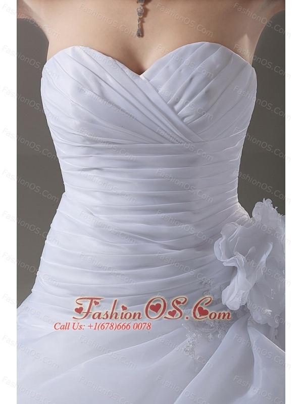 Ball Gown Romantic Wedding Dress Appliques Organza Sweetheart Court Train