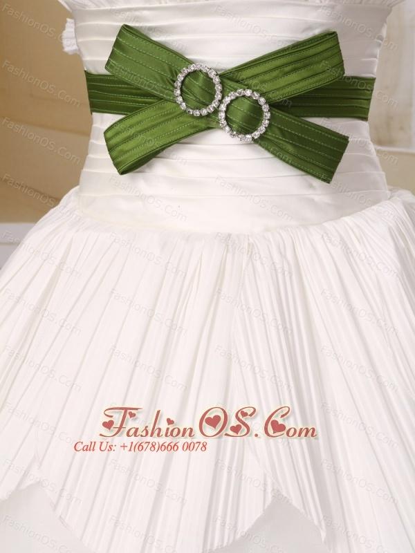 Ball Gown Strapless Neckline Organza With Olive Green Belt Wedding Dress