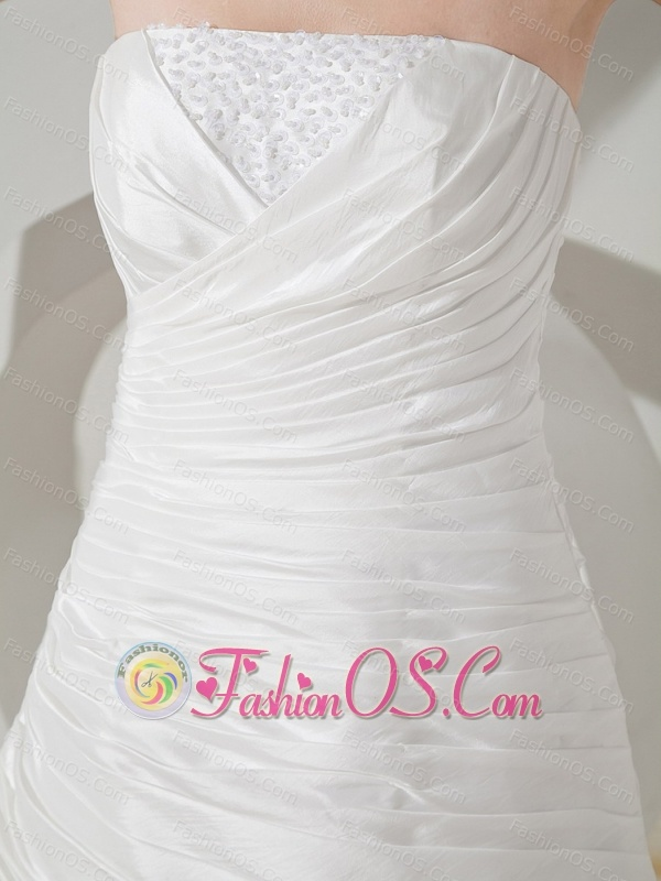 Beaded Decorate Bust Hand Made Flowers Lace and Taffeta Brush Train Strapless Wedding Dress For 2013