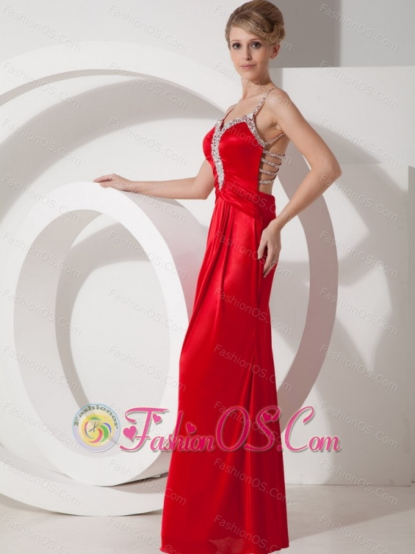 Beaded Decorate Shoulder Chiffon Column Straps 2012 Prom Dress Criss Cross