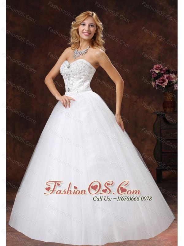 Beaded Decorate Sweetheart Neckline Tulle Floor-length A-line 2013 Wedding Dress