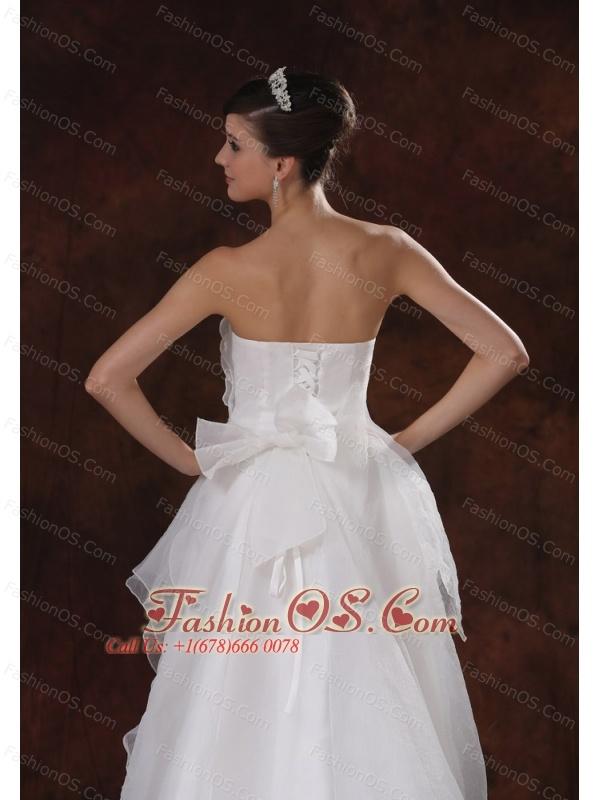 Beaded Decorate Waist Strapless Organza High-low Wedding Dress