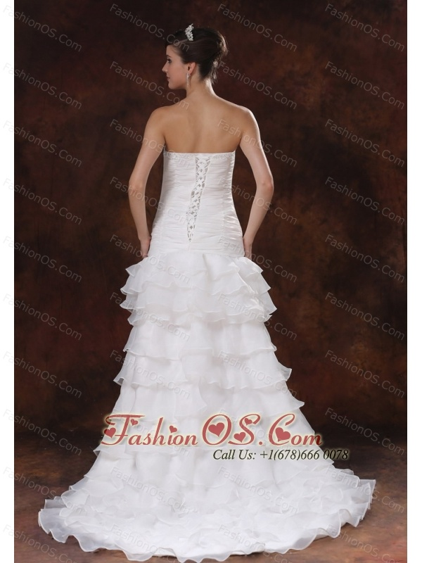 Bodice High Slit Brush / Sweep Mermaid / Trumpet Organza Wedding Dress With Beading