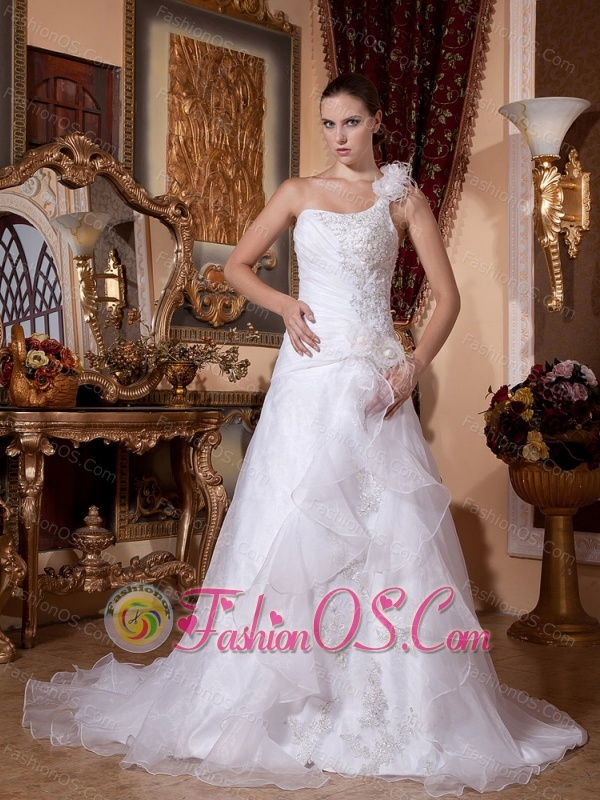 Column One Shoulder Appliques Decorate Bust Wedding Gows With Hand made Flowers