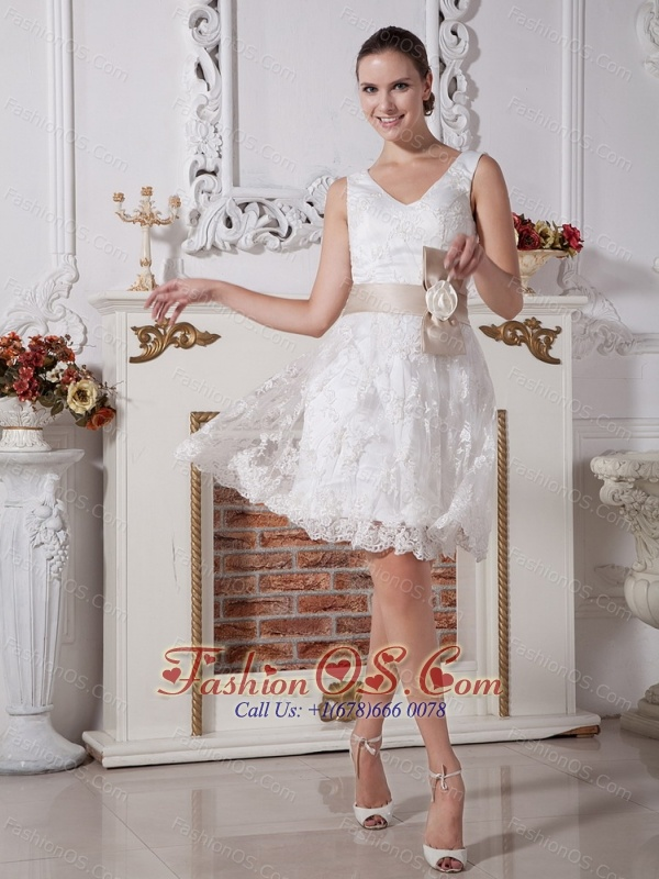 Custom Made V-neck Short Wedding Dress With Belt Lace Hot