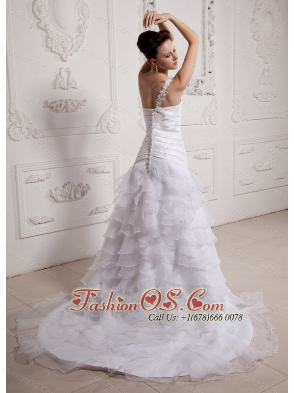 Discount Ruffled Layeres and Appliques One Shoulder Mermaid 2013 Wedding Dress