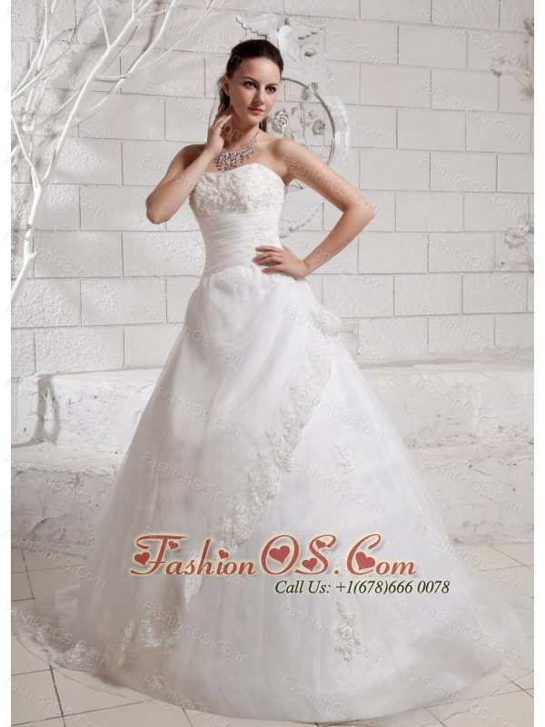 Elegant Appliques Court Train Wedding Dress For Custom Made