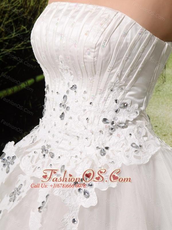 Elegant Appliques With Beading Wedding Dress For Custom Made