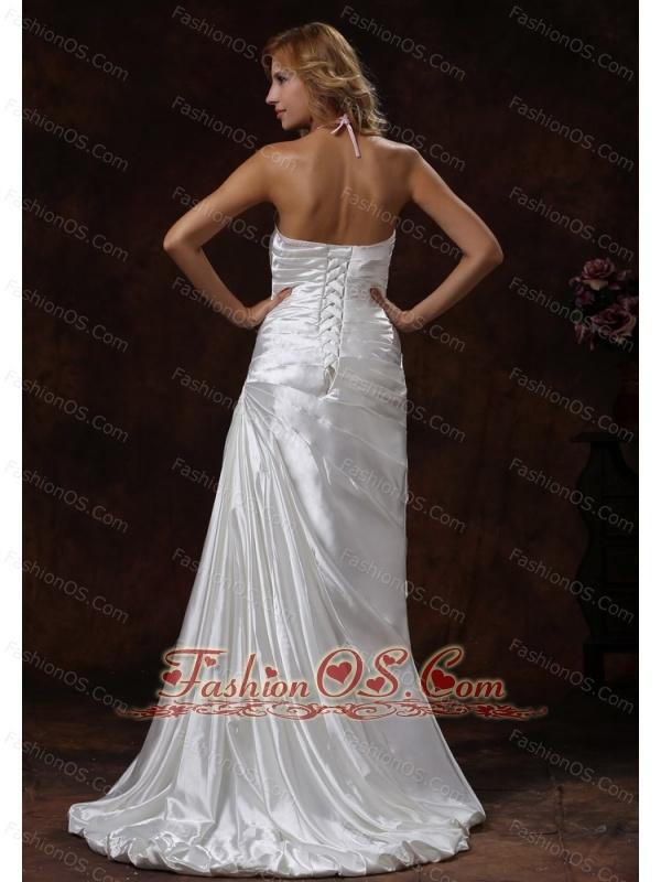 Halter Neckline Ivory Wedding Dress With Brus Train Satin Ruch Decorate