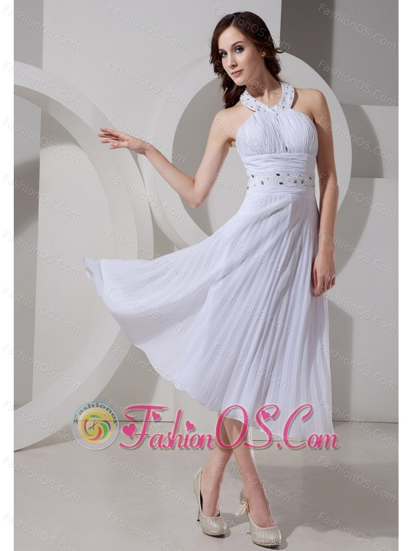 Halter Top Neckline Beaded Decorate Waist Tea-length White 2013 Chic Prom Gowns